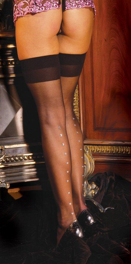 Sheer Rhinestone Thigh High - One Size and Queen Available