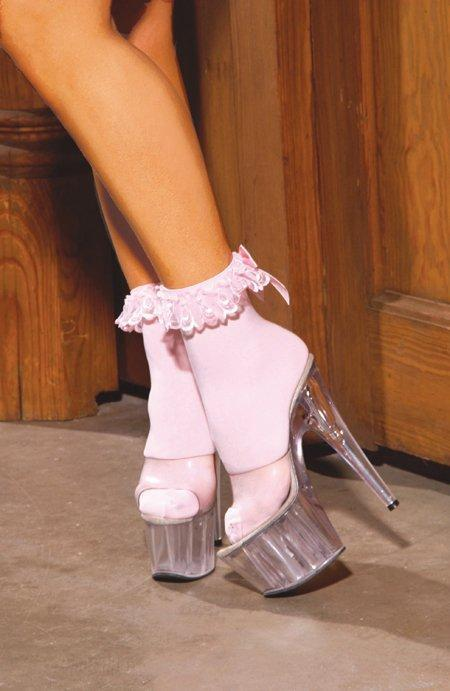 Nylon Anklet with Ruffle and Bow - One Size Available