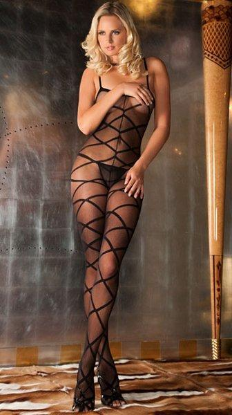 Black Strapped Up Sheer Bodystocking (OS)