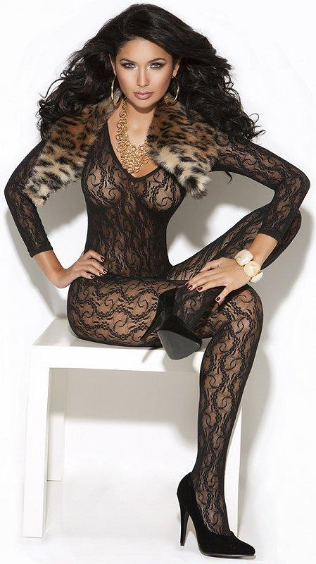 Black Lace Bodystocking - One Size Fits Most