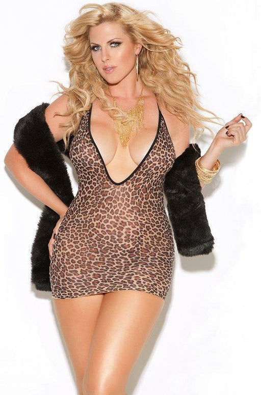 Leopard Deep V Mini Dress