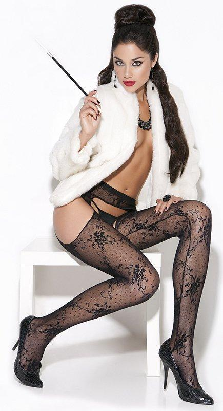 Black Lace Suspender Pantyhose