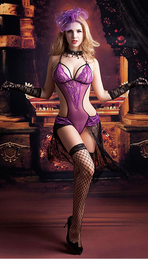 Purple and black skirted lace teddy– sizes XS-M.