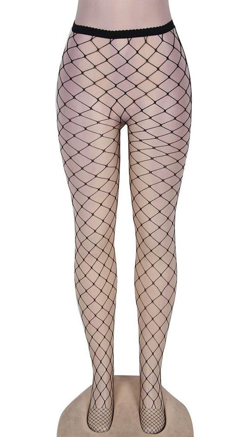 Black fishnet pantyhose: one size fits most.