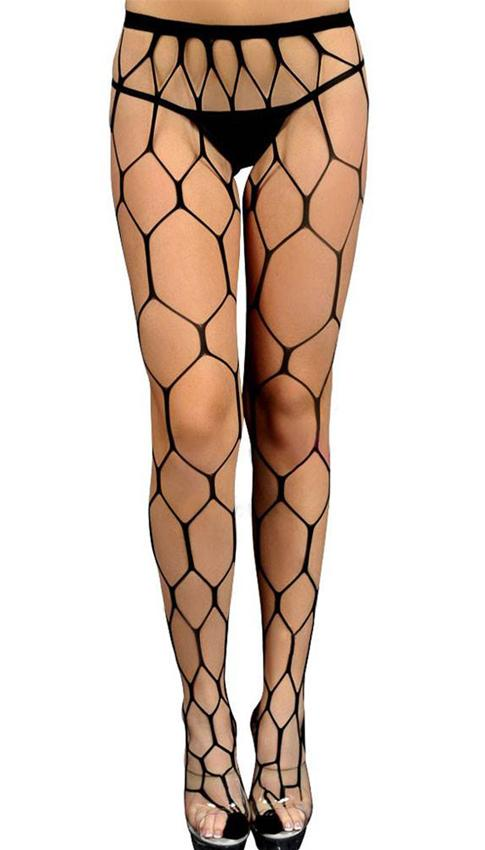 Black hexagon net pantyhose: one size fits most.