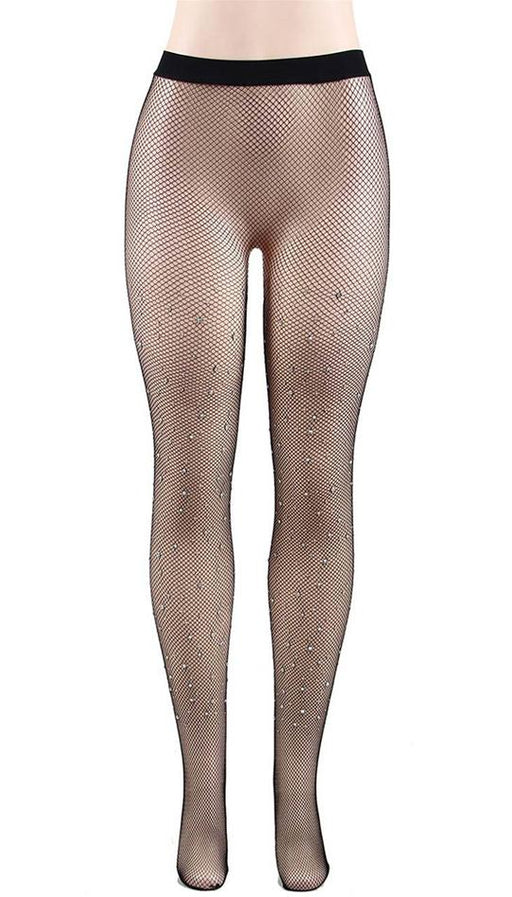 Black fishnet pantyhose with rhinestones: one size fits most.