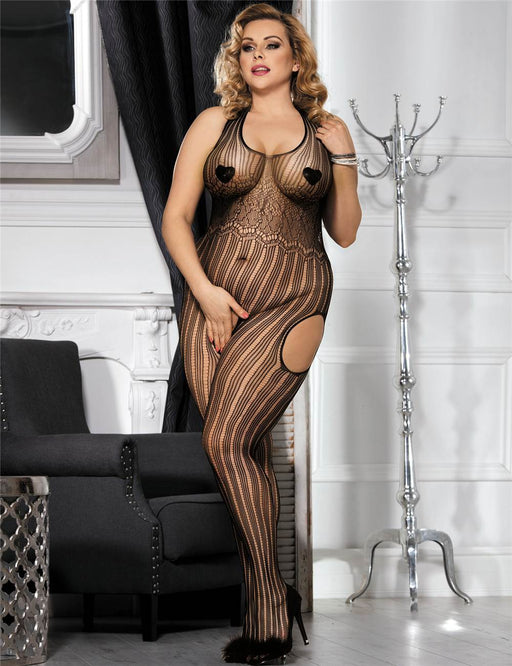 Black Crotchless Halter Bodystocking - Queen Size