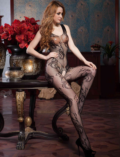 Black Lace Net Bodystocking - One Size and Queen Available