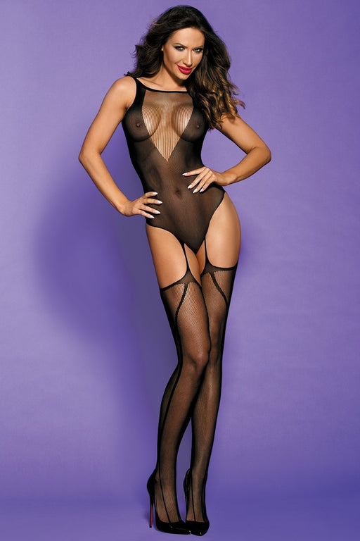 Black Sheer Bodystocking - One Size Fits Most