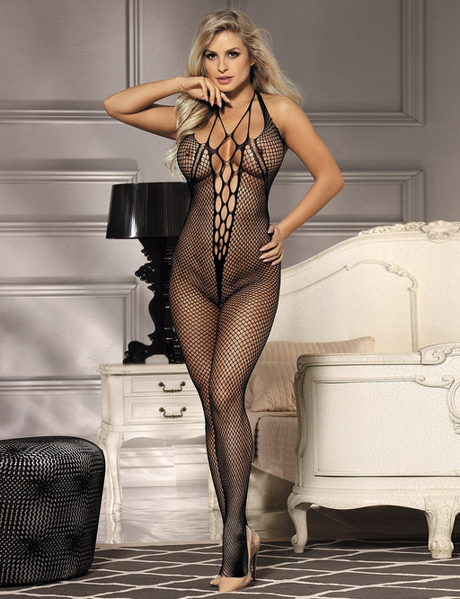 Black Crotchless Net Bodystocking - One Size and Queen Available