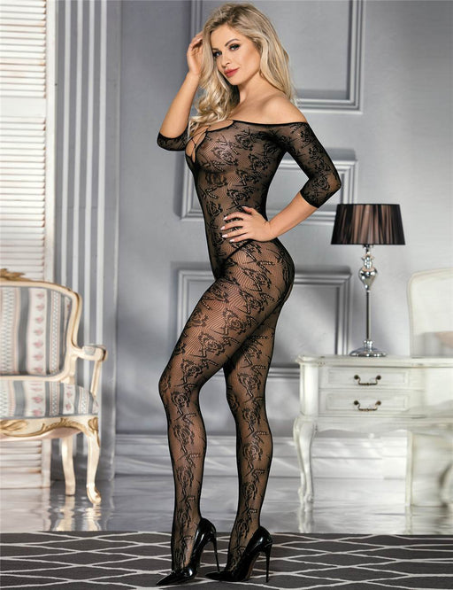 Rose Print Bodystocking - One Size Fits Most