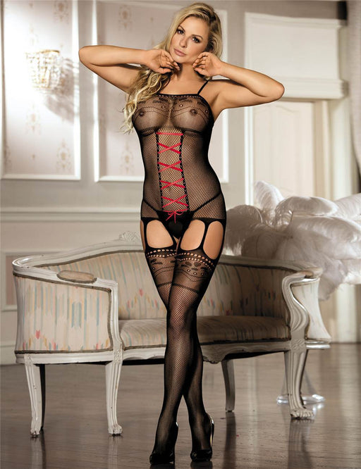 Black Laced Up Bodystocking - One Size and Queen Available