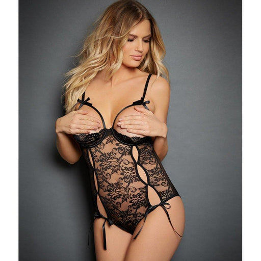 Black Open Bust Lace Teddy - One Size Fits Most