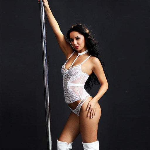 White Fishnet & Lace Corset - One Size Fits Most