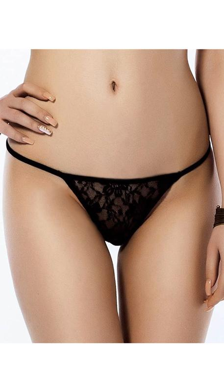 Black lace g-string available in three sizes.