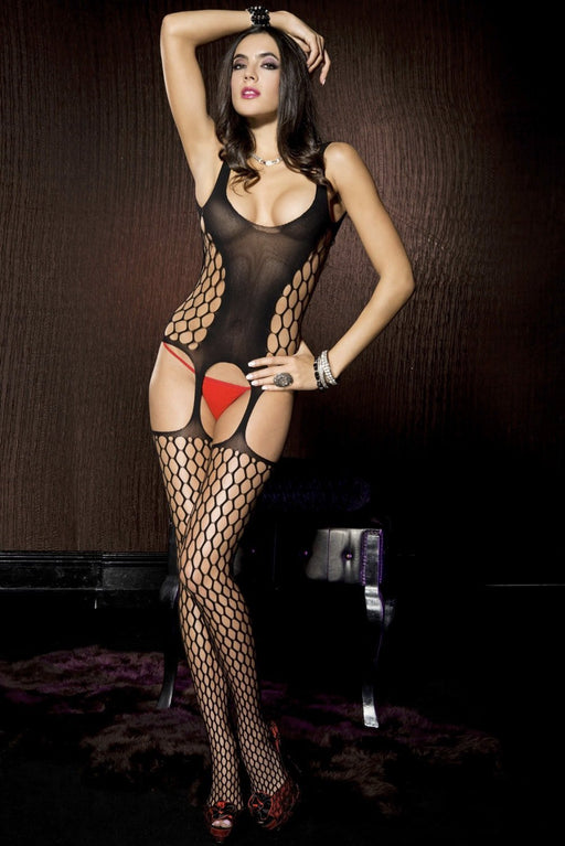 Black Net Suspender Bodystocking - One Size Available