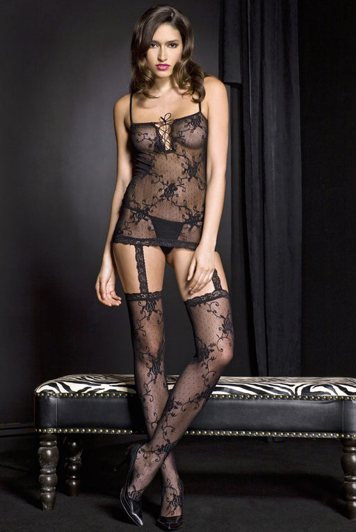 Lace Garter Mini Dress With Attached Stockings - One Size Available