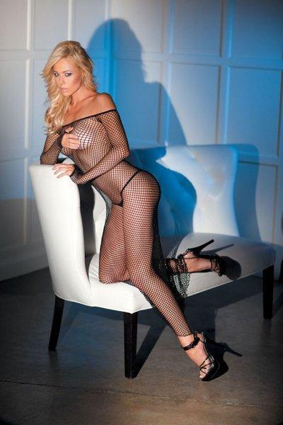 Off The Shoulder Fishnet Gown