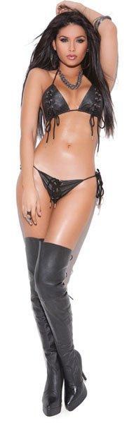 Leather Bra and G-String Set - One Size Fits Most