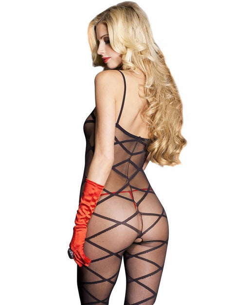 Black Bodystocking with Criss Cross Design - One Size Available