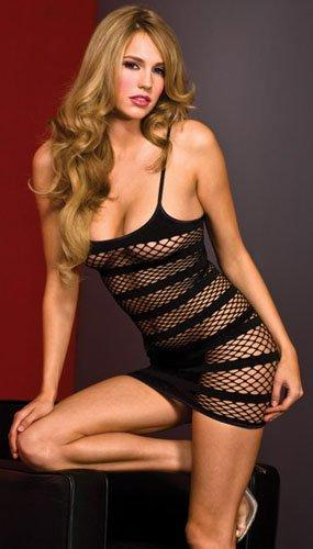 Black Spandex Diamond Net Dress (OS)