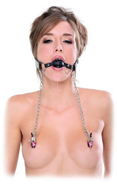 Fetish Fantasy Extreme Ball Gag & Nipple Clamps