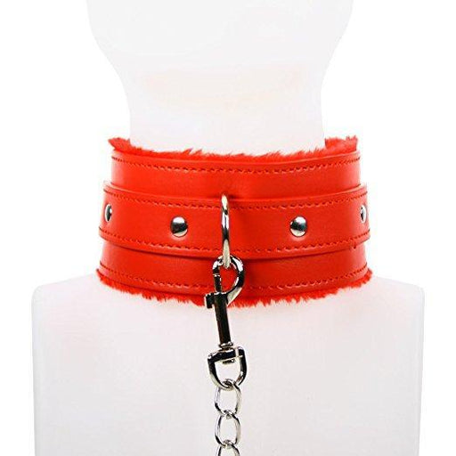 Red Hot Fur Lined Collar With Chain Leash