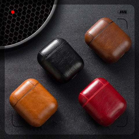 LEATHER APPLE AIRPODS PROTECTIVE CASE COVER WITH KEYCHAIN