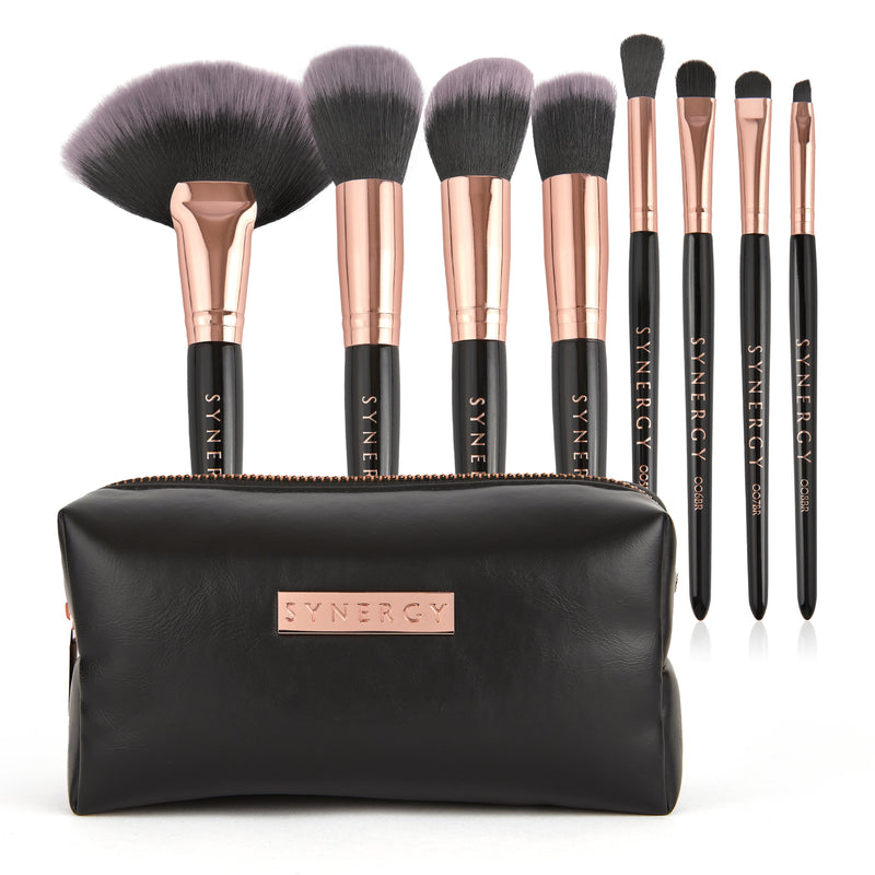 Black Rose 8 piece brush set and round makeup bag