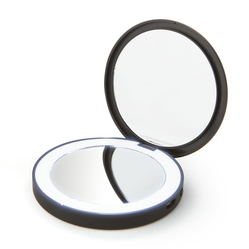 Black Rose LED compact mirror