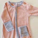 Ribbed Onesie | Pink with Grey