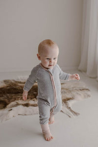 Ribbed Onesie | Grey with Pink