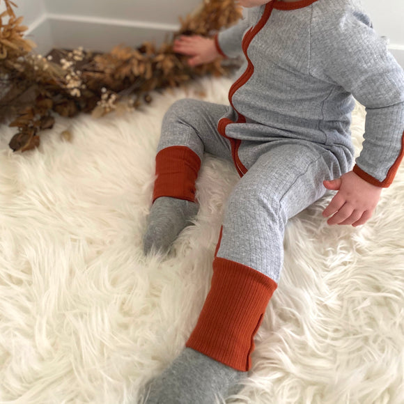 Ribbed Onesie | Grey with Rust