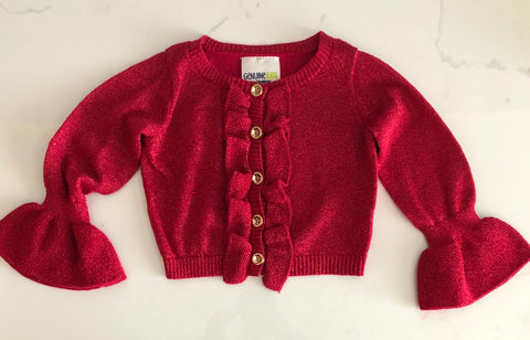 Genuine Kids From Oshkosh Girl's Red Shimmer Cardigan Sweater