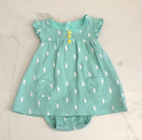 Carter's Girls Seahorse Print Onesie Dress Size NB