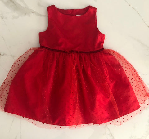 Cat & Jack Girl's Dressy Red Tulle Dress Size 18M