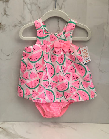 New Just One You Carter's Girls Pink Watermelon Print Onesie Dress size 18M