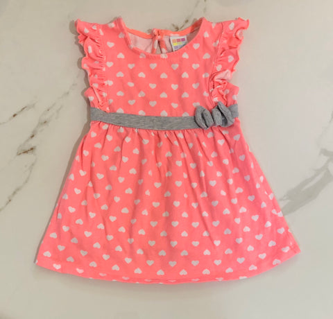 Healthtex Girl's Heart Print Coral Dress Size 18M