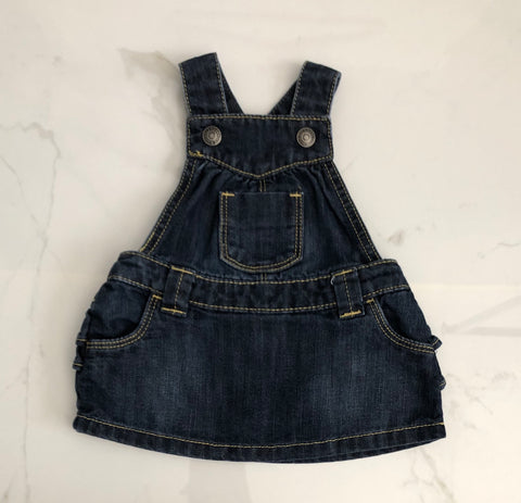 Old Navy Girl's Blue Denim Overall Dress size 0-3M