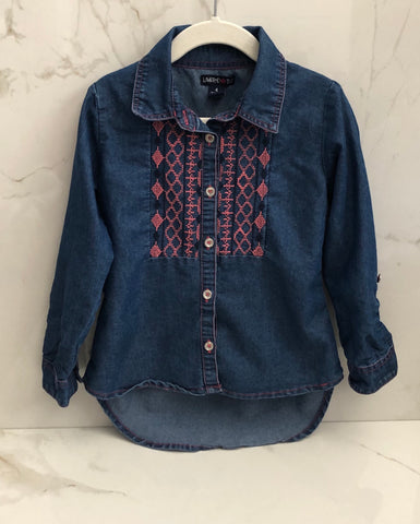Limited Too Girls Blue Denim Like Button Down Top Size 4