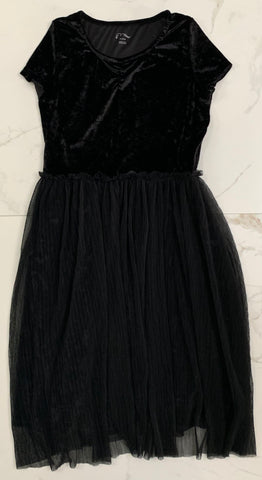 Art Class Black Velvet Ballerina Dance Dress Sheer Skirt Size XL 14-16