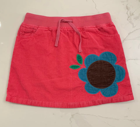 Mini Boden Pink Corduroy Flower Skirt Size 7-8Y