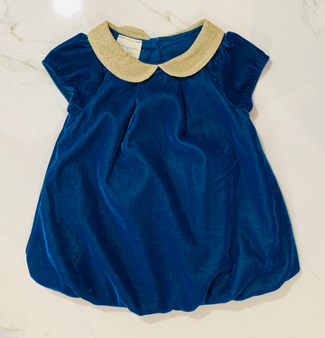 First impressions Girls Teal Velvet Top Dress Size 6-9M