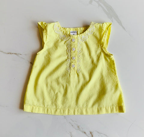 Carter's Girls Yellow Sleeveless Embroidered Top Size 9M