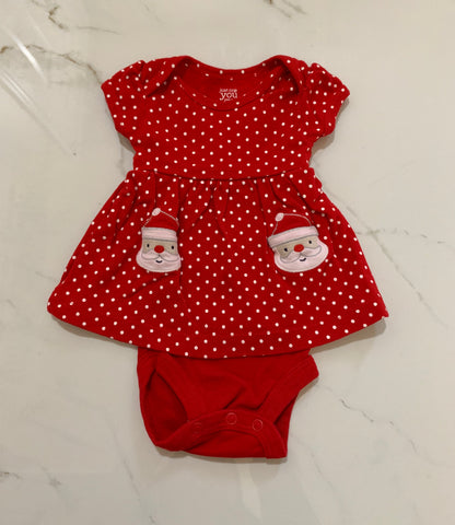 Just One Carter's Girls Red White Polka Dot Santa Dress NB
