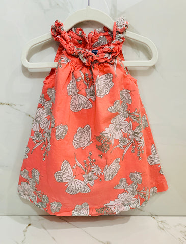 Old Navy Girls Orange Butterfly Floral Dress 12-18M