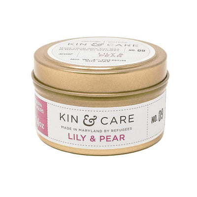 Lily & Pear gold tin candle