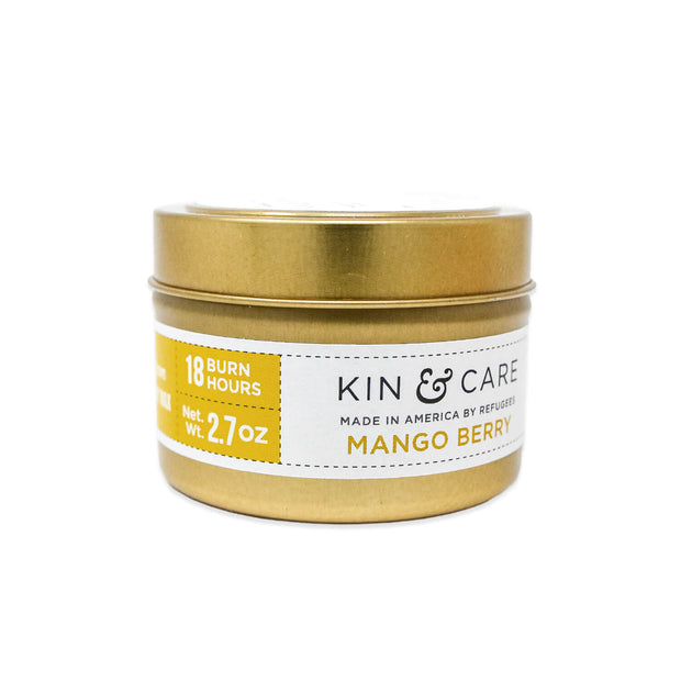 Mango Berry small gold tin candle