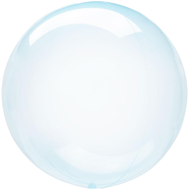 blue crystal clear round balloon with helium
