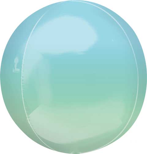 blue/green ombre round balloon with helium